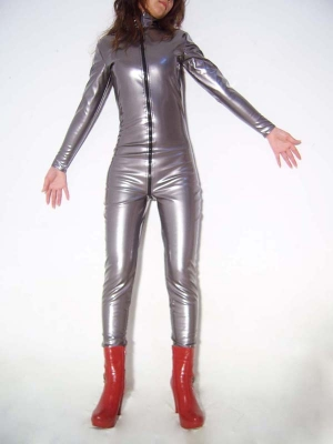 Silver Shiny Metallic Front Open zentai Unisex Catsuit