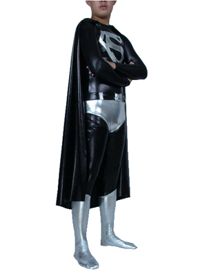 Silver and Black Metallic Superhero Costume