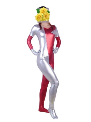 Silver and Red Scoop Neckline Shiny Zentai Catsuit