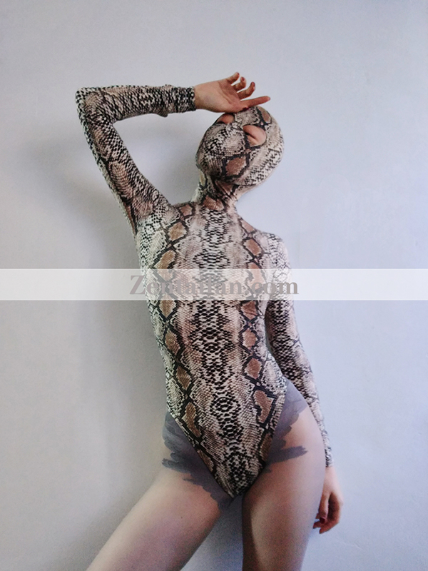 Snakeskin Animal Zentai Spandex Leotard Open Eyes