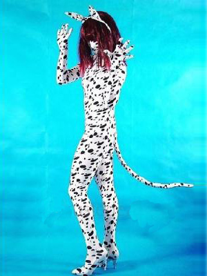 Spotty Dog Lycra Spandex Unisex Tailed Zentai Catsuit