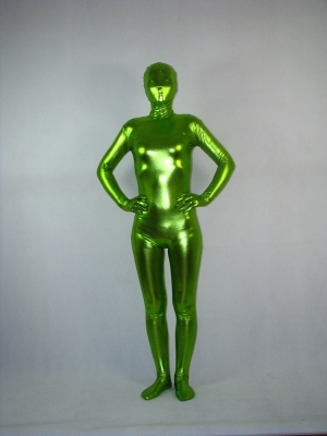 Spring Green Unicolor Shiny Metallic Fullbody Zentai Suit