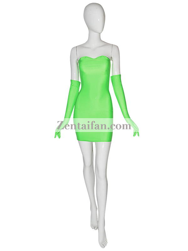 Unicolor Green Sexy Zentai Dress