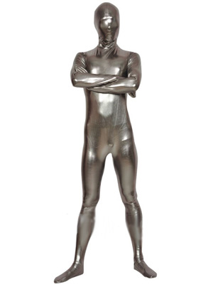 Unicolor Silver Gray Metallic Zentai Catsuit