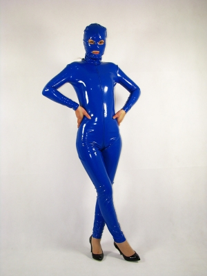 Unisex Blue Eyes and Mouth Opened Shiny PVC Unicolor Zentai Suit