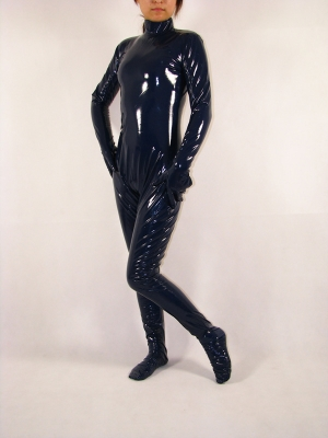 Unisex Dark Blue Unicolor PVC Zentai Suit