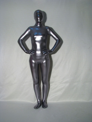 Unisex Dark Silver Shiny Metallic Zentai Suit