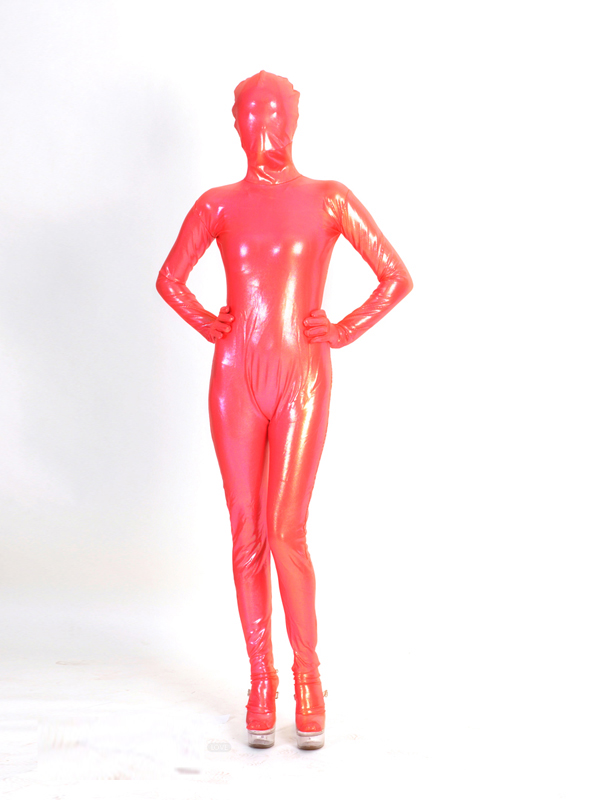 Watermelon Red Shiny Metallic Fullbody Zentai Costume