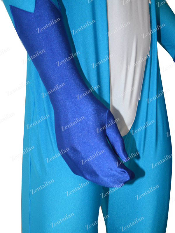White Blue Custom Catsuit With Tail
