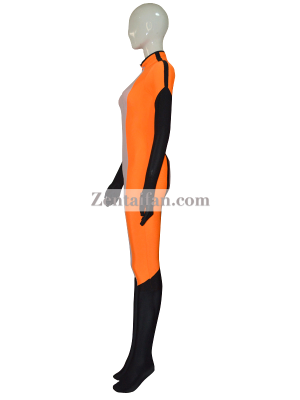 White Orange Custom Catsuit With Eye Patch