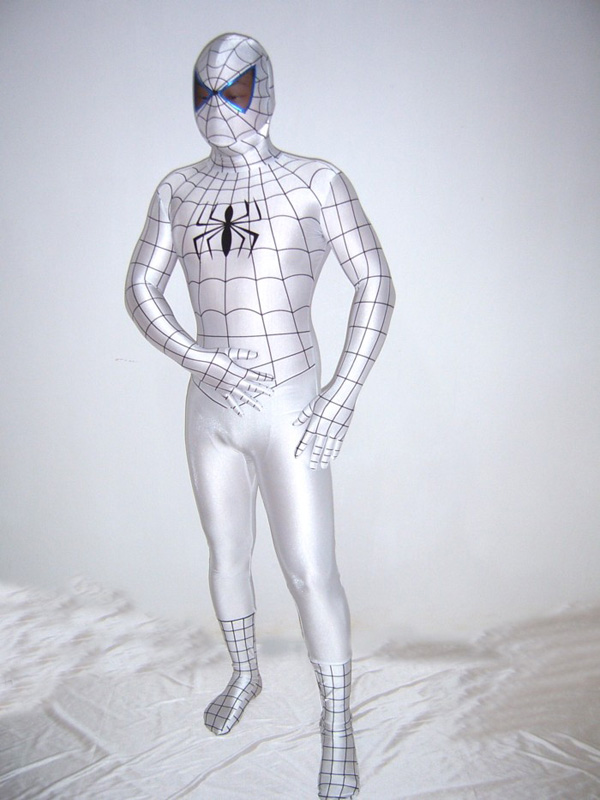 White Spandex Spiderman Costume With Black stripe