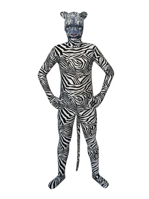 White Tiger Hood Tiger Stripes Fullbody Spandex Zentai