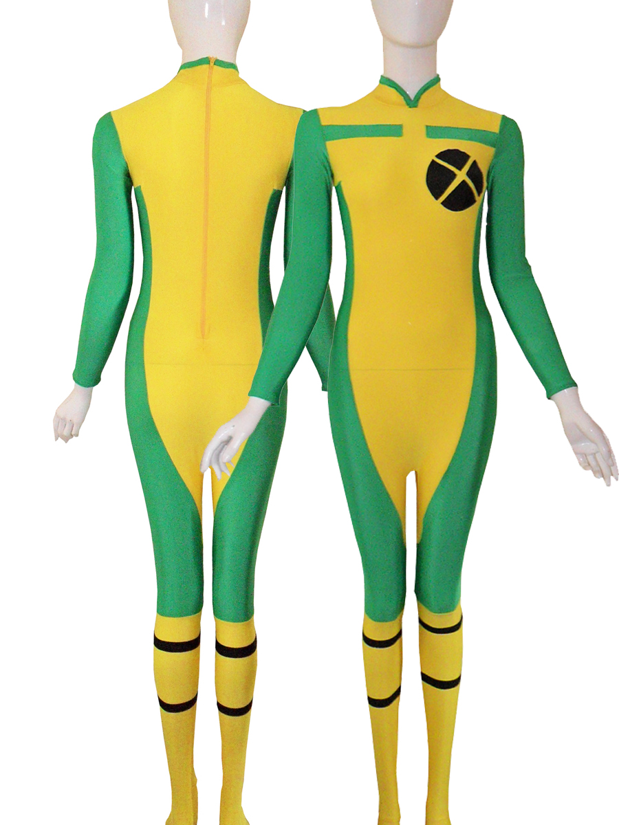 X-men Yellow & Green Rogue Spandex Superhero Costumes