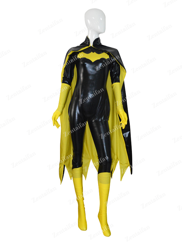 Yellow & Black Batgirl Female Shiny Superhero Costume