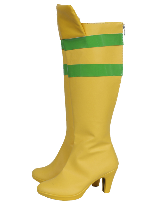 Yellow & Green X-men Rogue Female High Heels Superhero Cosplay Boots