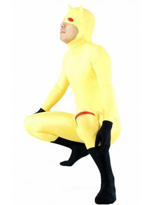 Yellow Lycra Spandex Zentai Suit with open face