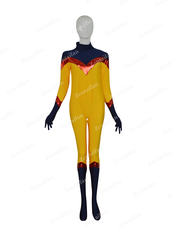 Yellow & Navy Blue Custom Female Superhero Costume