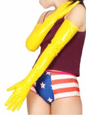 Yellow Sexy PVC Gloves