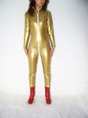 Yellow Shiny Metallic Zentai Front Open Unisex Catsuit