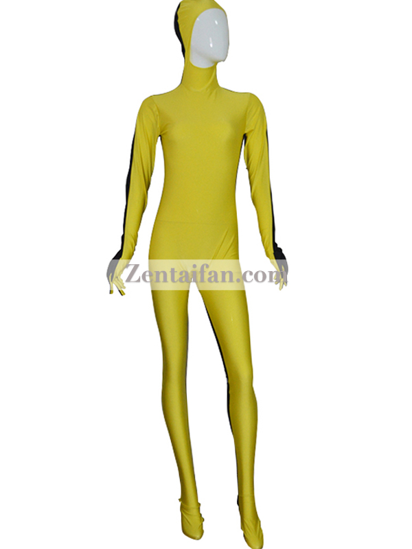 Yellow and Black Tight Lycra Spandex Zentai Suits