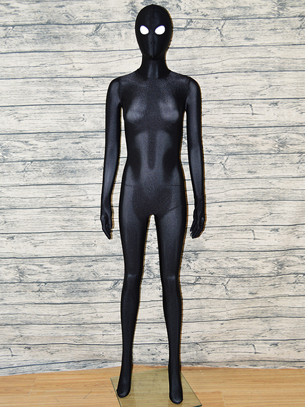 Zentaifan Black Full Body Zentai suit open eyes